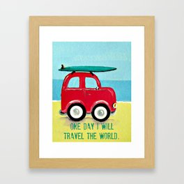 One day I will travel the world Framed Art Print