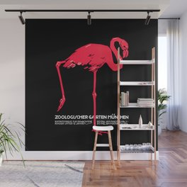 Vintage Pink flamingo Munich Zoo travel ad Wall Mural