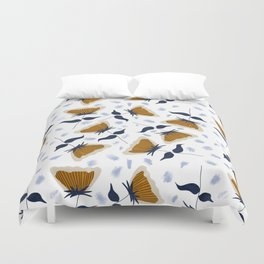 Gold and White Flowers with Blue Duvet Cover