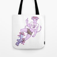 heymonster Tote Bags featuring f*ck off by heymonster