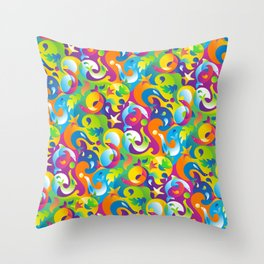 Dolphins, Seals and Sea Life in Tropical Ocean Waves Throw Pillow