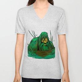 Bigfoot  creeping in swamp Unisex V-Neck