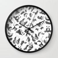 pandas Wall Clocks featuring Pandas by Karen Vaughan