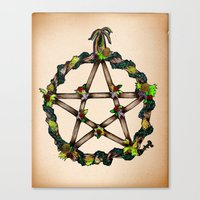 pentagram Canvas Prints featuring PENTAGRAM GARLAND by Dianah B
