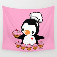 cooking Wall Tapestries featuring Cooking Penguin by joanfriends