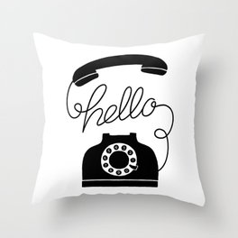 Hello Phone Throw Pillow