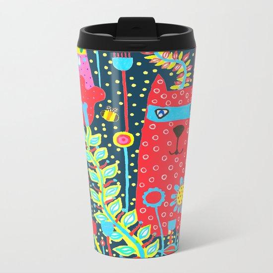 Cats & Flowers Metal Travel Mug
