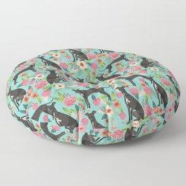 Italian Greyhound pet friendly pet portraits dog art custom dog breeds floral dog pattern Floor Pillow