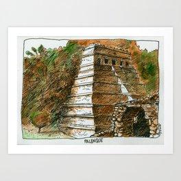 Temple of Inscriptions Art Print