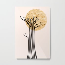 New Beginnings - Black & Gold Metal Print