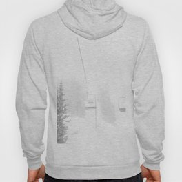 Ski Lift Horizon // Ride to the Peak Epic Adventure Whiteout Black and White Minimal Photograph  Hoody
