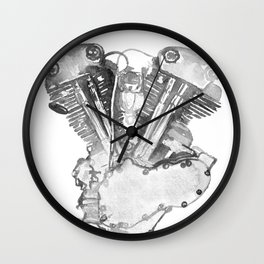 Vintage Harley Knucklehead Motorcycle Engine Wall Clock