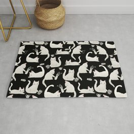 Bad Cats Knocking Things Over, Black & White Rug