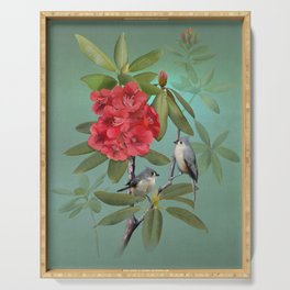 Tufted Titmice and Rhododendron Serving Tray