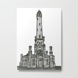 Triptych 2 - Water Tower - Original Drawing Metal Print