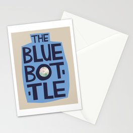 The Blue Bottle - typographic design Stationery Cards