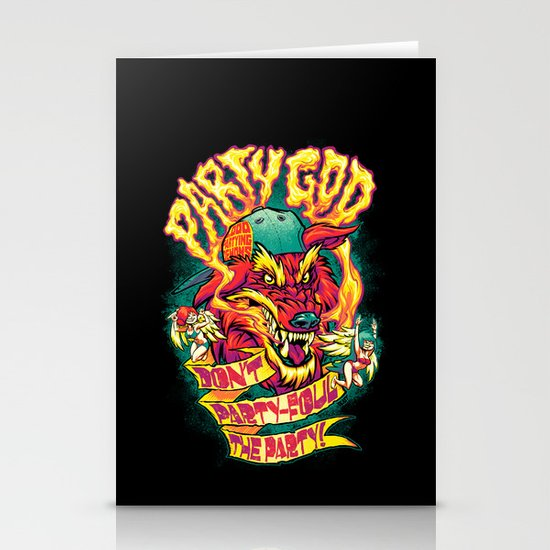 PARTY GOD (red) Stationery Cards