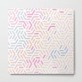 Pastel Deco Hexagon Pattern - Gold, pink & grey #pastelvibes #pattern #deco Metal Print