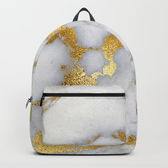 White and Gray Marble and Gold Metal foil Glitter Effect Backpack