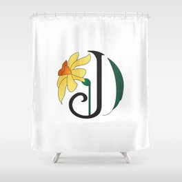 Ruby's Flower Initials - J Shower Curtain