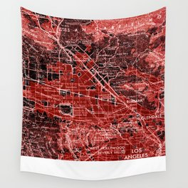 loa Angeles map, year 1966, red art Wall Tapestry
