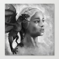 mother of dragons Canvas Prints featuring Mother Of Dragons by Mirko Monti