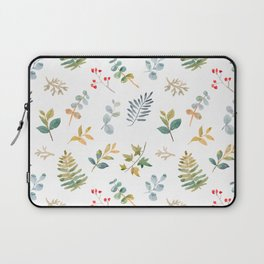 Elegant pink teal lilac yellow watercolor floral leaves Laptop Sleeve
