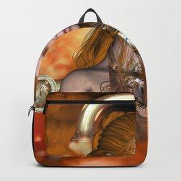 Steampunk, Beautiful steampunk women Backpack