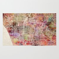 los angeles Area & Throw Rugs featuring Los angeles by MapMapMaps.Watercolors