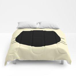 Black cat-Pastel yellow Comforters