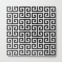 Large Black and White Greek Key Pattern Metal Print