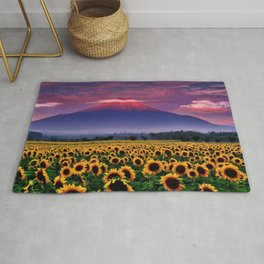 Sunflowers & Sunflower fields at Mount Fuji, Japan at Sunset - Jeanpaul Ferro Rug