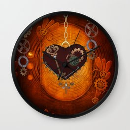Steampunk, heart with gears Wall Clock