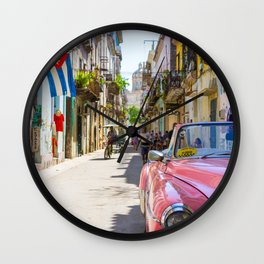 Colorful building streets in Cuba Wall Clock