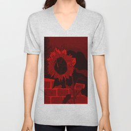 Thee Sunflower in Red by Mgyver Unisex V-Neck