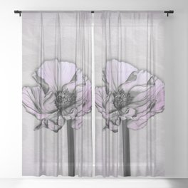 Purple Poppy Sheer Curtain