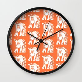 Mid Century Horse Pattern Orange Wall Clock
