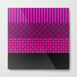 Set pink black textile Metal Print