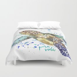 Sea Turtle Pura Vida Watercolor Duvet Cover