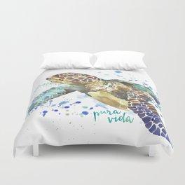 Sea Turtle Pura Vida Watercolor Duvet Cover