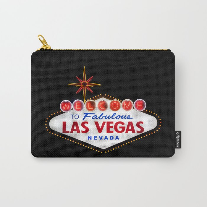 Welcome to Fabulous Las Vegas vintage sign neon on dark background  Carry-All Pouch