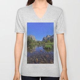 Yosemite and mirror lake Unisex V-Neck