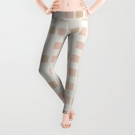 Cubed - Soft Minimalist Geometric Pattern in Pale Blush and Sand  Leggings