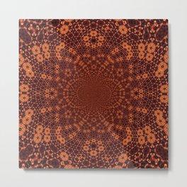 Red Lace Mandala Metal Print