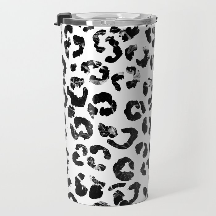 Modern black white marble stylish leopard pattern Travel Mug