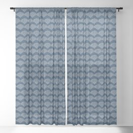 Wabi Sabi Arches in Blue Sheer Curtain