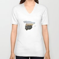 spain V-neck T-shirts featuring Spain by Isabel Moreno-Garcia