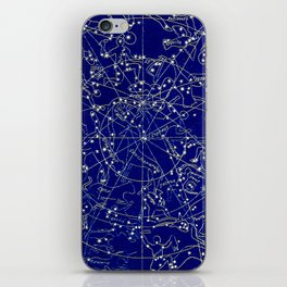 Constellation Stars blue space map on gold marble iPhone Skin