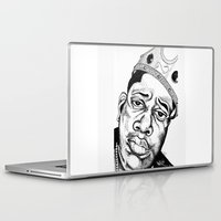 biggie smalls Laptop & iPad Skins featuring Biggie Smalls Stippling by Tom Brodie-Browne