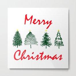 Merry Christmas Typography with Hand Drawn Christmas Tree Minimal Art Metal Print